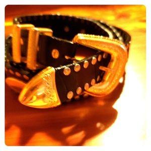 Mens vintage gold and leather custom belt